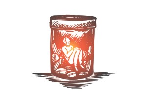 10-Facts-You-Need-to-Know-About-the-Opioid-Epidemic - person in pill bottle drawing