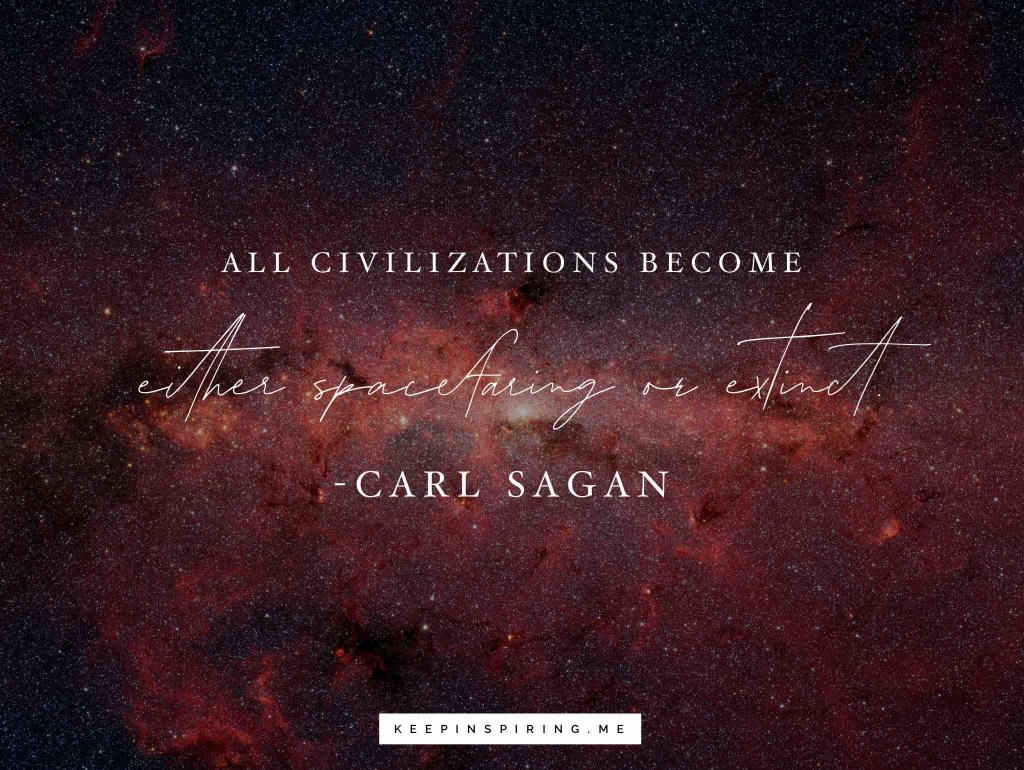 A Carl Sagan quote against a Hubble Telescope image of a distant galaxy