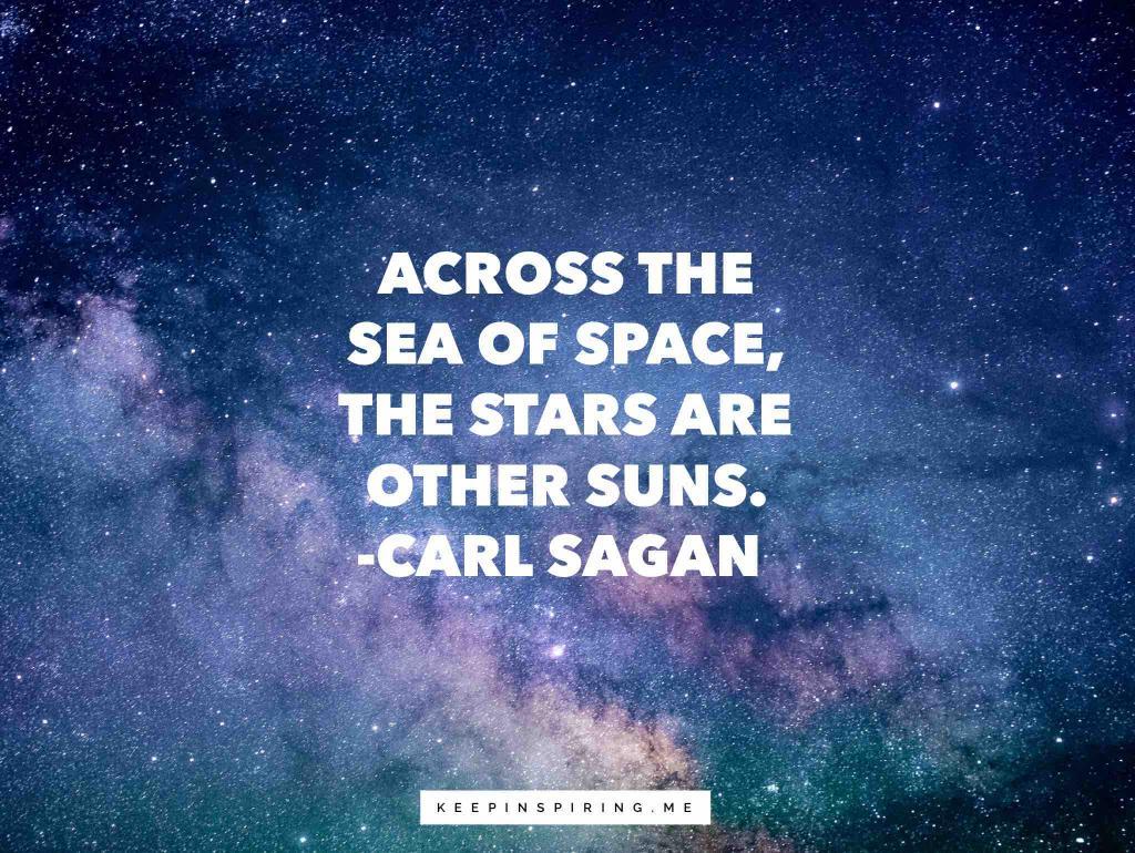 Carl Sagan quote over the Milky Way galaxy in the Cosmos
