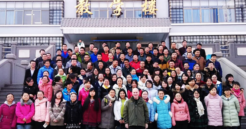 Larry with Chinese university students