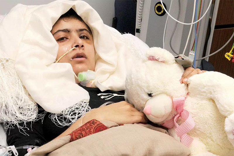 Malala Yousafzai, hospitalized after being shot by a Taliban attacker