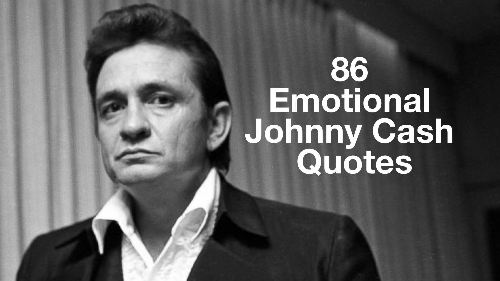 A black and white photo of Johnny Cash in a western jacket with slick hair